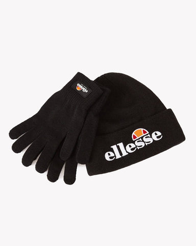 Ellesse Heritage Velly & Bubb Beanie & Gloves Gift Set (Unisex) Black