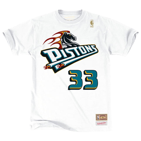 Mitchell & Ness Name & Number Tee Detroit Pistons - Grant Hill White