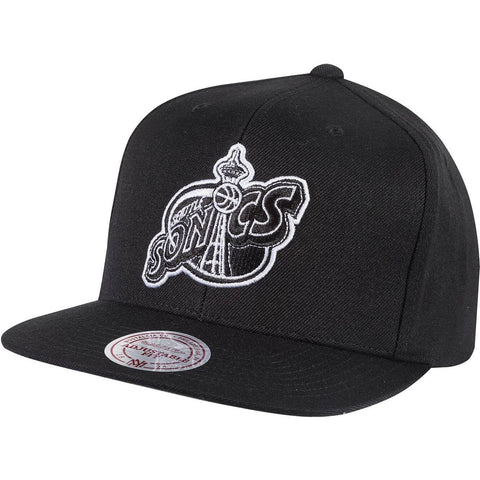 Mitchell & Ness Wool Solid Snapback Seattle Supersonics Black/White