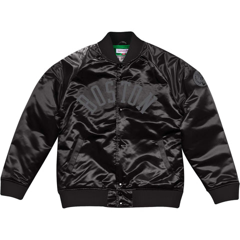 Mitchell & Ness Tough Season Satin Jacket (Tonal) Boston Celtics Black