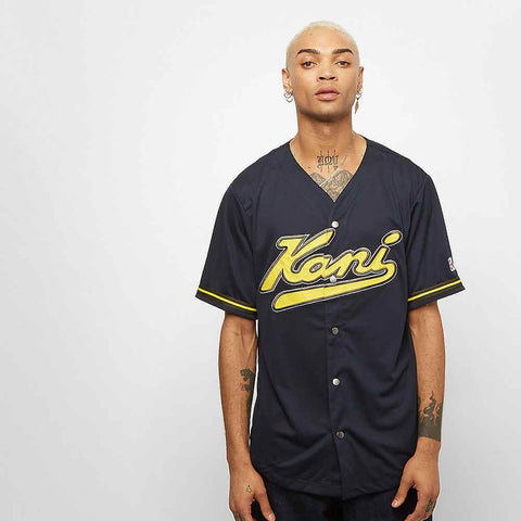 Karl Kani College Baseball Shirt Navy/Yellow