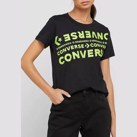 Converse Wordmark Short Sleeve Crew Women Converse Black