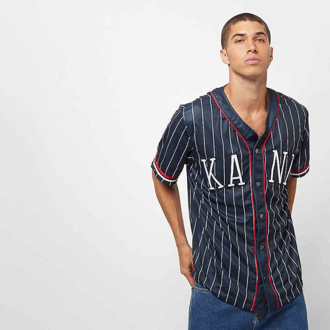 Karl Kani College Baseball Shirt Navy/White/Red
