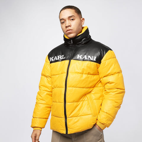 Karl Kani Retro Block Pu Puffer Jacket Yellow/Black