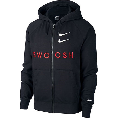 Nike Sportswear Swoosh Men'S Full-Zip French Terry Hoodie Black/University Red/White