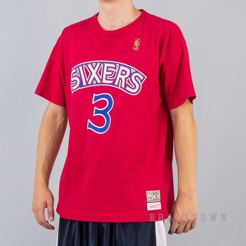 Mitchell & Ness Name & Number Tee Philadelphia 76ERS - Allen Iverson Red