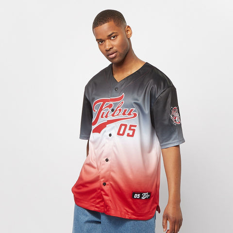 FUBU Varsity Baseball Jersey Gradient black/white/red