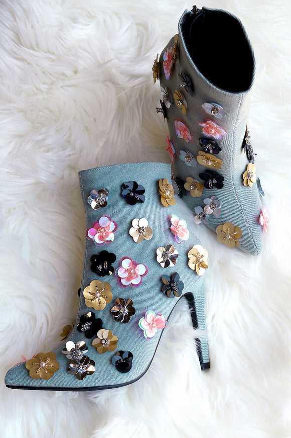 Floral Applique Denim Pointy Toe Booties