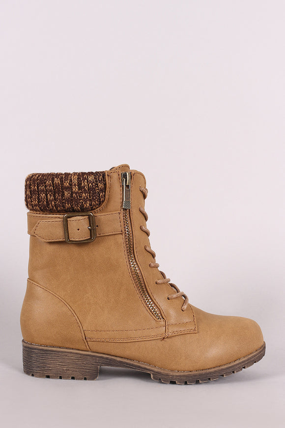 Bamboo Knit Cuff Buckle And Zipper Accent Combat Lace Up Boots