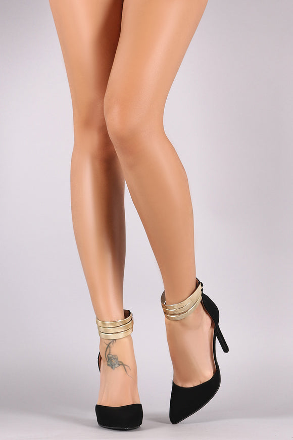 Nubuck Pointy Toe Metallic Textured Ankle Cuff Stiletto Pump