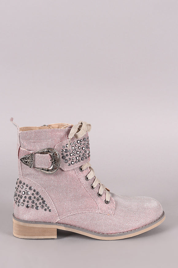 Glitter Studded Buckle Military Lace Up Booties
