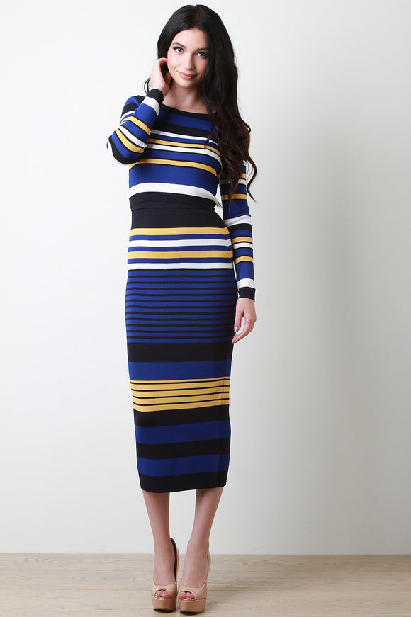 Striped Knit Long Sleeve Top and Pencil Skirt Set