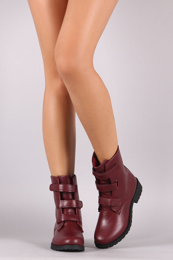 Round Toe Triple Band Moto Boots