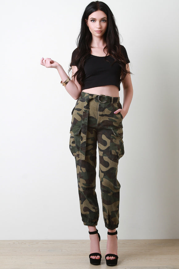 High Waisted Belted Camouflage Cargo Pants