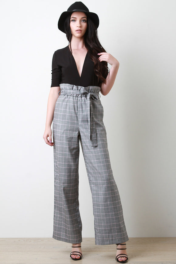 High Waisted Glen Plaid Cinched Bow-Tie Wide Leg Pants