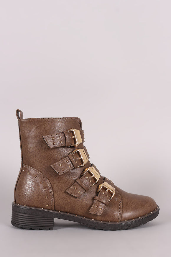 Studded Buckle Strap Lug Sole Moto Booties