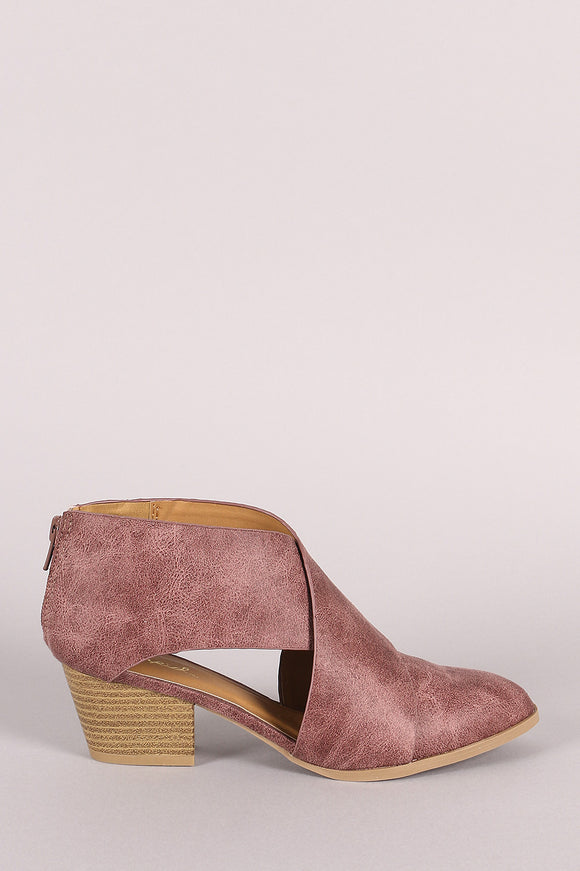 Qupid Distressed Cross Band Western Booties
