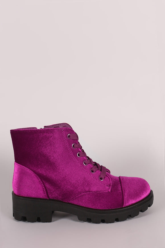 Bamboo Velvet Lace-Up Combat Ankle Boots