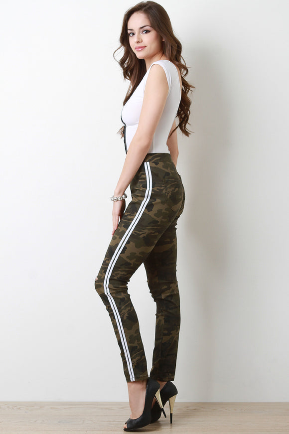 Sporty Stripe Ripped Knee Skinny Camouflage Jeans