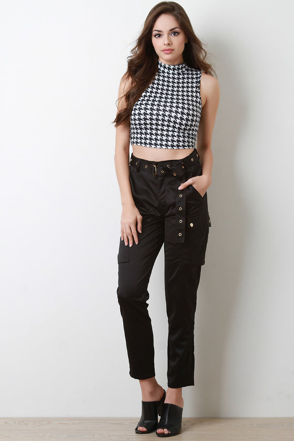 Satin High Waisted Belted Cargo Pants