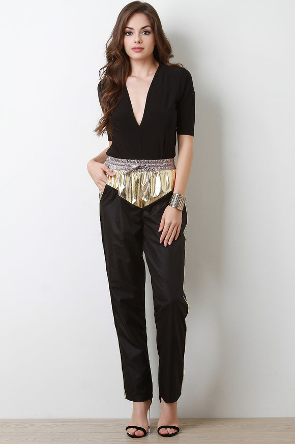 Metallic Color Block High Waisted Track Pants