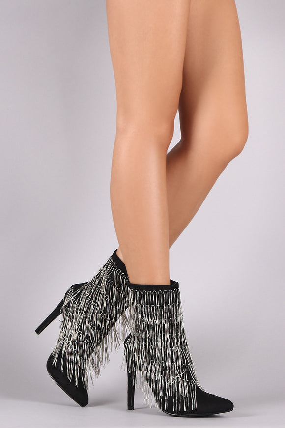 Tiered Chain-Fringe Pointy Toe Stiletto Suede Booties