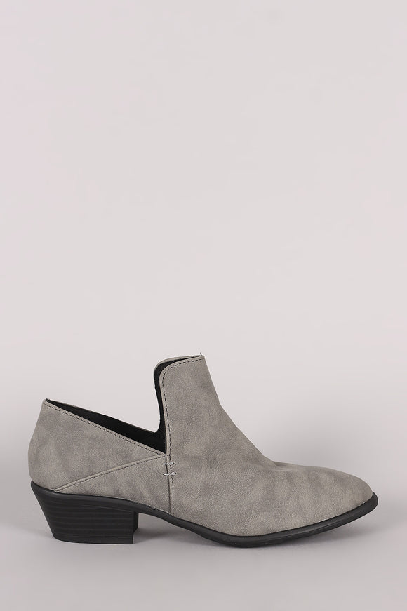 Qupid Distressed Nubuck Loafer Booties