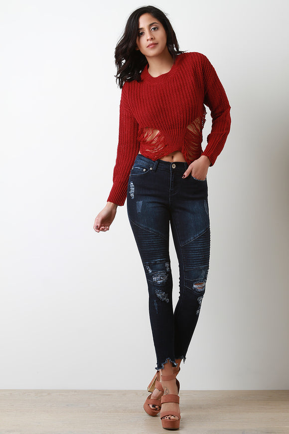 Distressed Moto Mid Rise Skinny Jeans