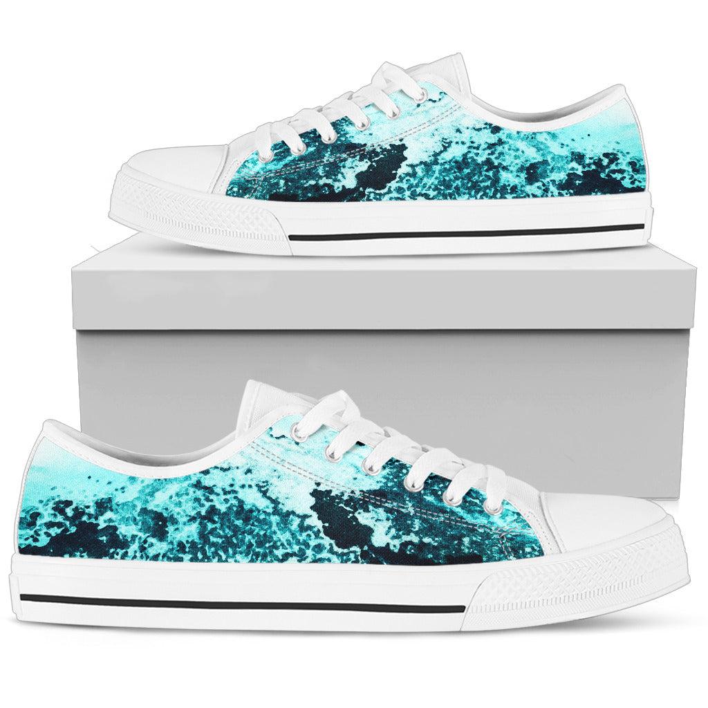 Men's Low Tops Ocean Print (White Sole)