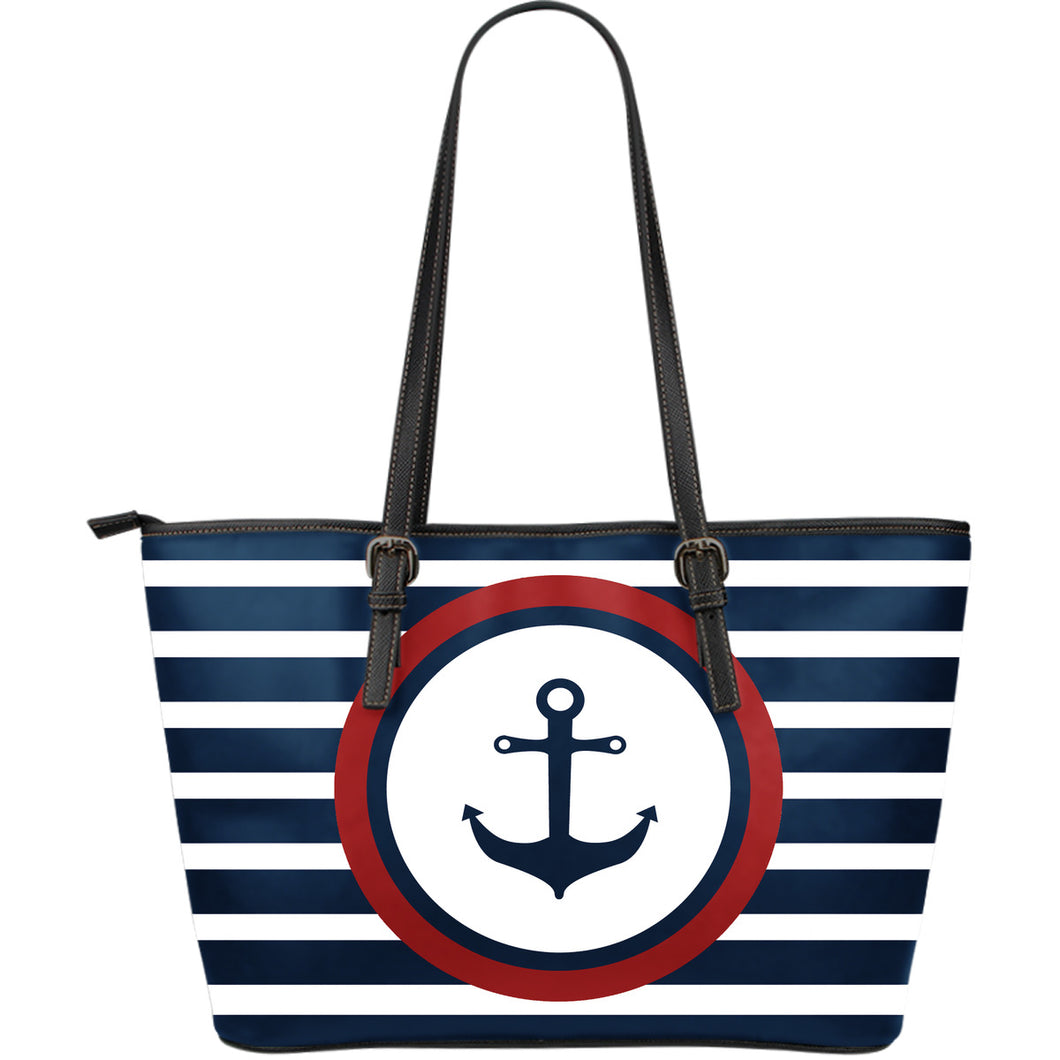 Boating Badge Large Leather Tote Bag - Capt. Jack