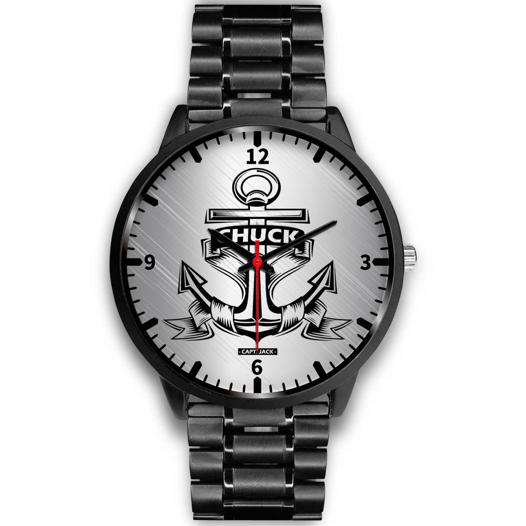 Personalized Anchor Watch - Black Case