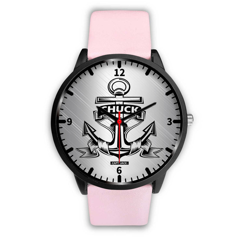 Personalized Anchor Watch - Black Case - Capt. Jack