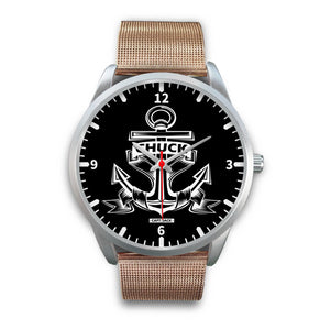 Personalized Anchor Watch - Silver Case - Capt. Jack
