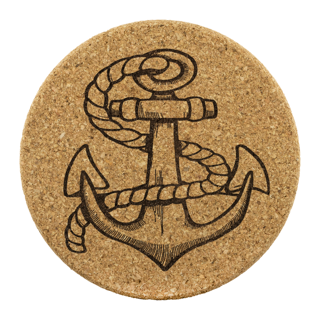 Vintage Anchor Round Cork Coaster - SET OF 4 - Capt. Jack