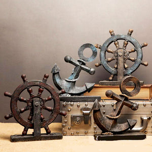 Vintage Anchor and Wheel Table Decor