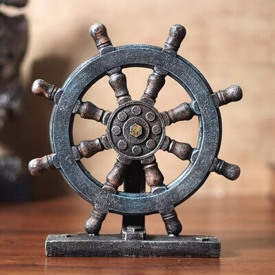 Vintage Anchor and Wheel Table Decor - Capt. Jack