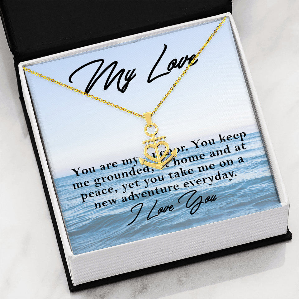 You are My Anchor -Anchored Heart Necklace - Capt. Jack