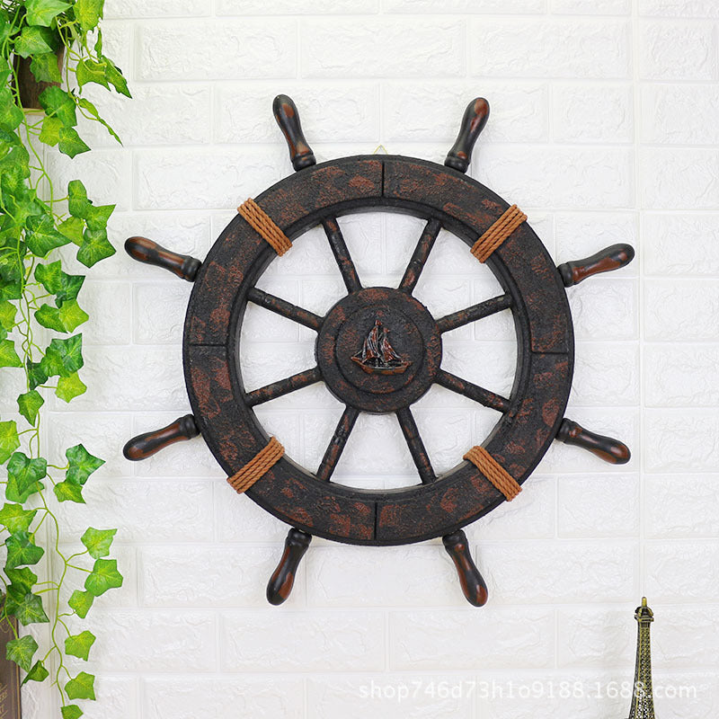 Vintage Anchor and Ship's Wheel Wall Decor - Capt. Jack