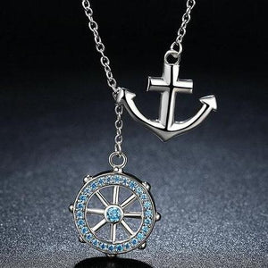 925 Sterling Silver Rudder and Anchor Necklace