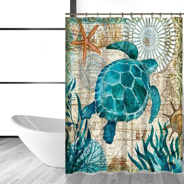Marine Life Waterproof Shower Curtain - Capt. Jack