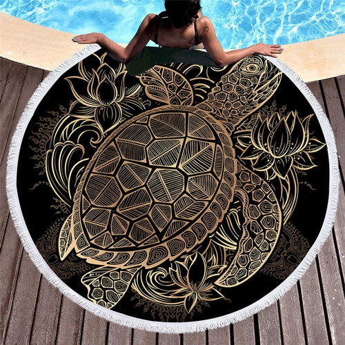 Golden Turtle Round Beach Towel - Capt. Jack