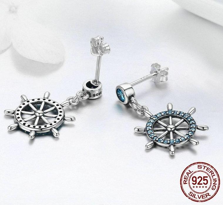 925 Sterling Silver Sailing Wheel Earrings - Capt. Jack