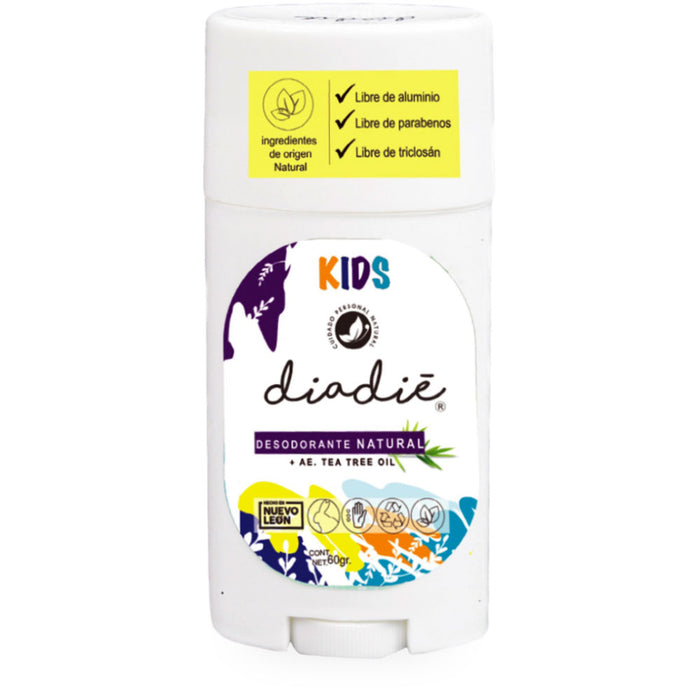 Diadie, Desodorante Natural y Tea Tree, Kids, 60 g