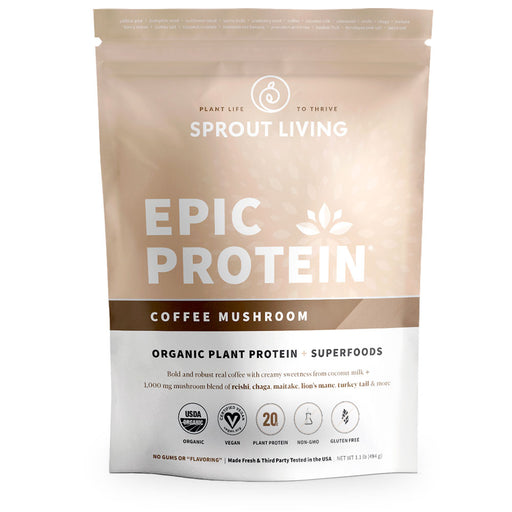 Sprout Living, Epic Protein, Coffee Mushroom, 494 g