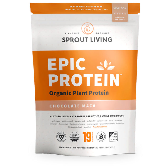 Sprout Living, Epic Protein, Chocolate Maca, 455 g
