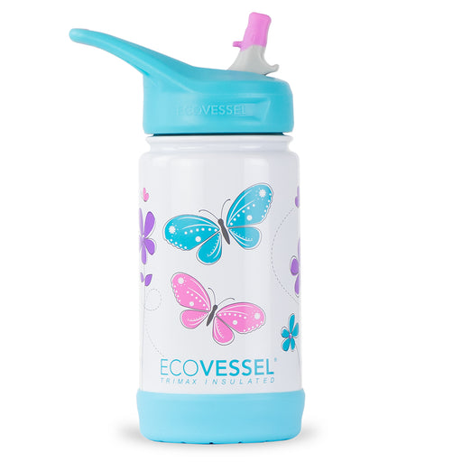 EcoVessel, Frost Insulated Water Bottle with Flip Straw Top, Butterfly, 355 ml