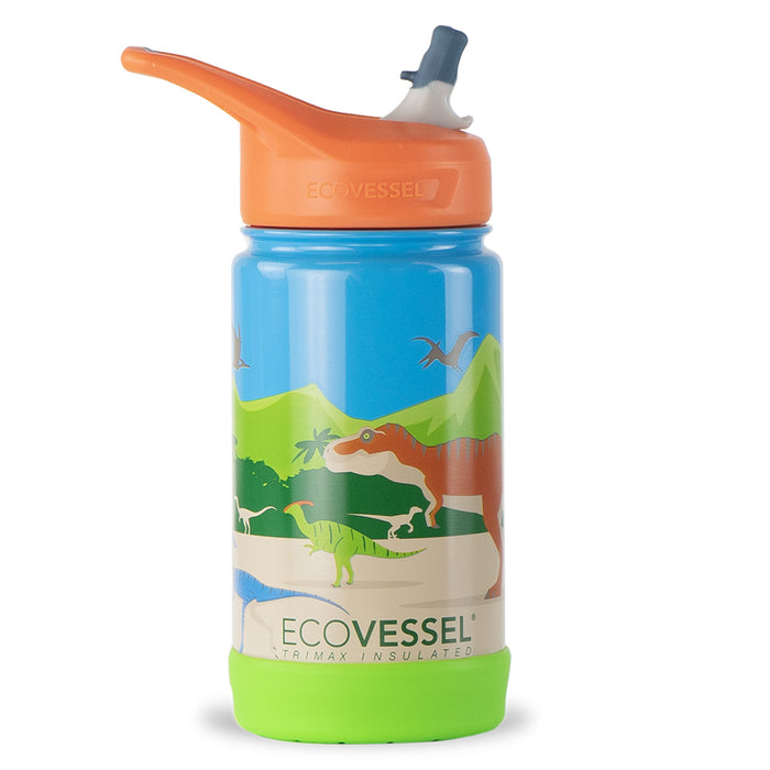 EcoVessel, Frost Insulated Water Bottle with Flip Straw Top, Dinosaur, 355 ml