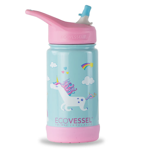 EcoVessel, Frost Insulated Water Bottle with Flip Straw Top, Unicorn, 355 ml