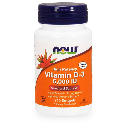 Now, Vitamin D3, 5000 IU, 240 caps