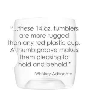 "Whiskey Advocate says govino ""14-oz tumblers are more rugged than any red plastic cup"""